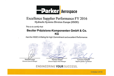 BEUTTER ist Excellence Supplier Performance